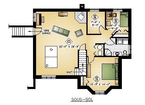 Plan de maison et ou plan de rnovation de type plain pied for Plan sous sol