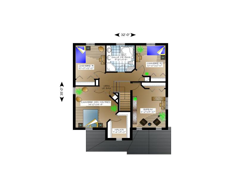 plan maison 2 faces