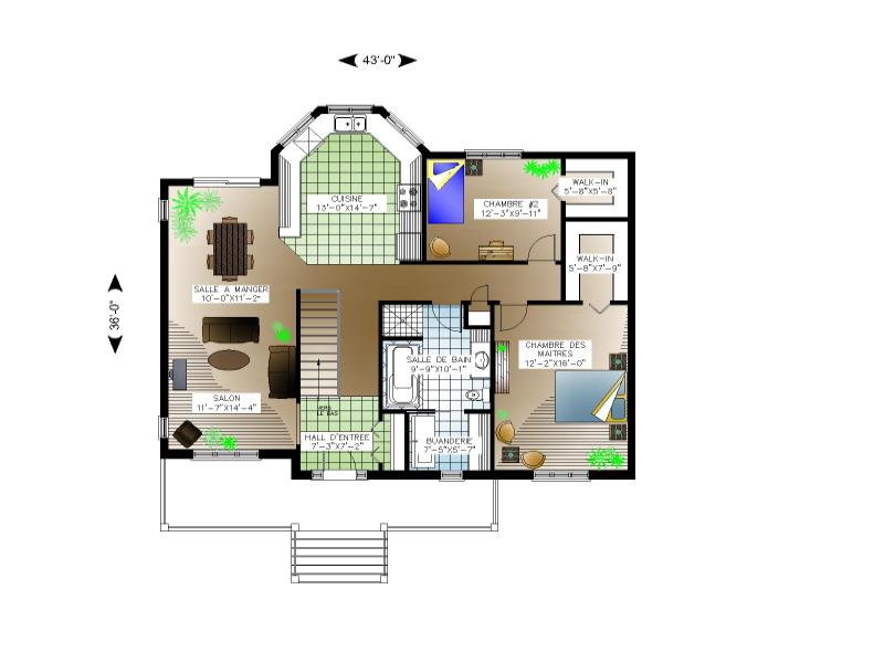 Plan de maison et ou plan de rnovation de type plain pied - Construction maison sans sous sol ...